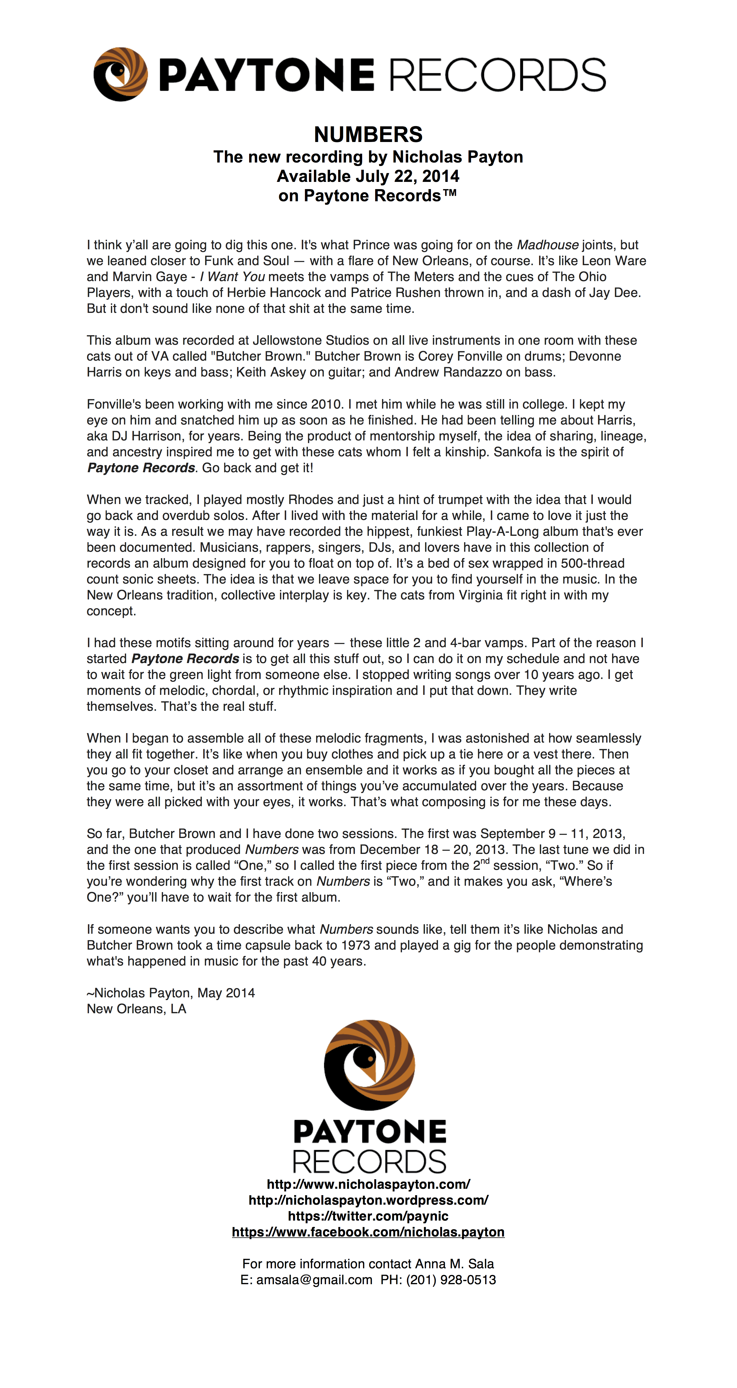 """Press Release for """"Numbers,"""" by Nicholas Payton ft. Butcher Brown ..."""